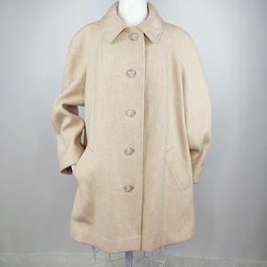 Vintage 1960s MOD Camel Wool Swing Coat M L